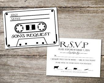 Cassette Tape Rsvp Card Song Request Card Wedding Rsvp Card With Song Request Cassette Tape Song Request Card Menu Song Request Rsvp Wedding Cards Rsvp
