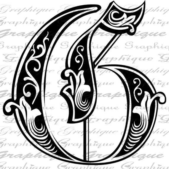 Letter Initial G Monogram Old Engraving Style Type By Graphique