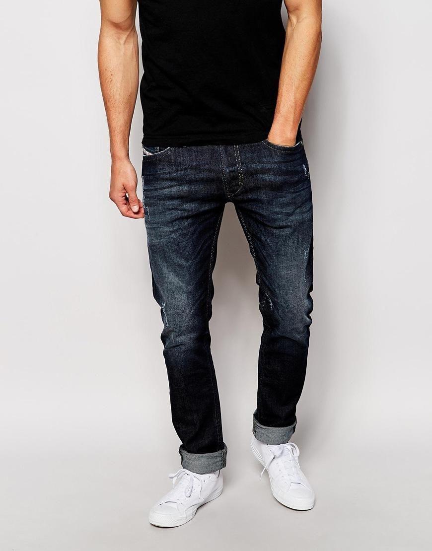 Diesel Jeans Thavar 842R Slim Tapered Fit Dark Wash Distressed at asos.com