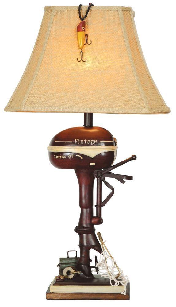 Vintage Style Fishing Boat Outboard Motor Table Lamp Nautical Lake Rustic 32 H Table Lamp Lamp Rustic Lamps