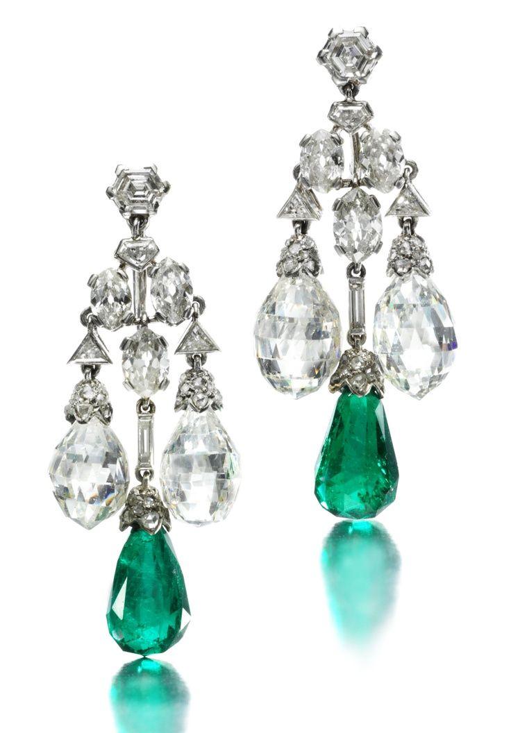 A Pair Of Art Deco Platinum Emerald And Diamond Ear Pendants By Cartier Circa 1929