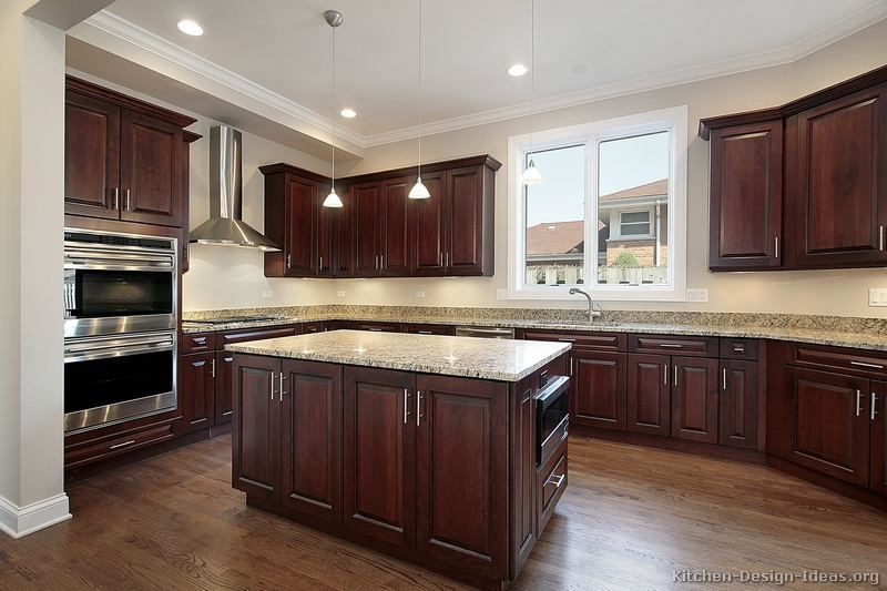 Kitchen Backsplash Dark Wood Cabinets cherry kitchen cabinets photo gallery |  of kitchens