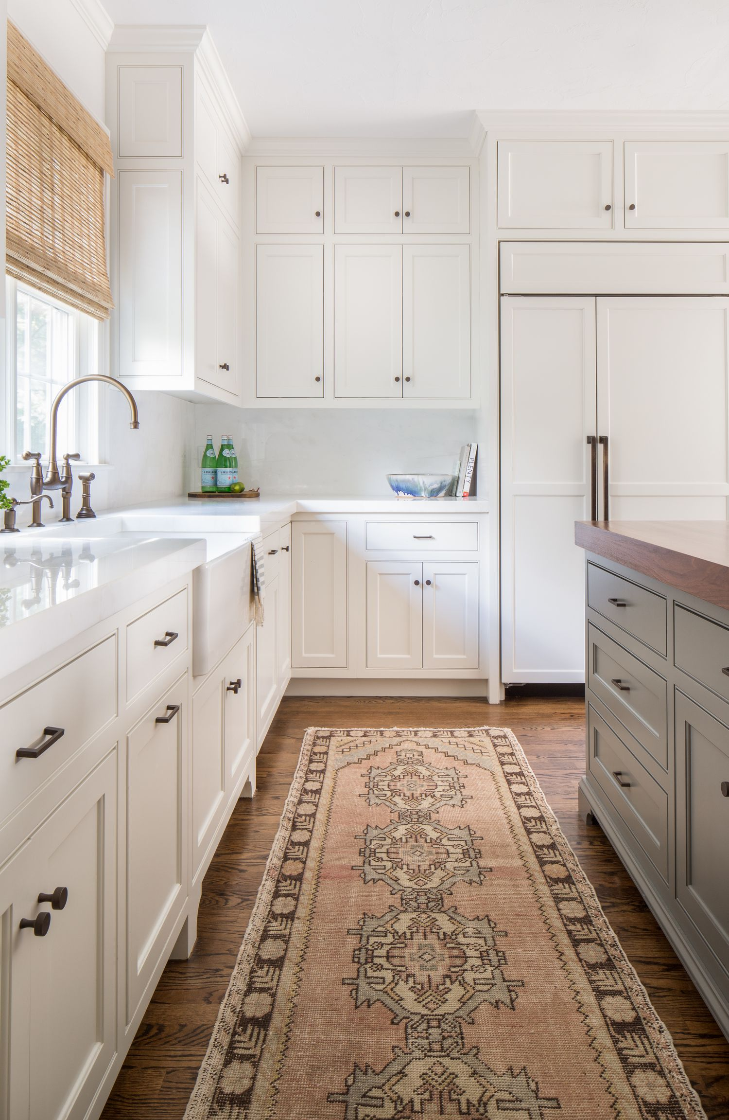 soft tones, white cabinets and metallic accents. | kitchen