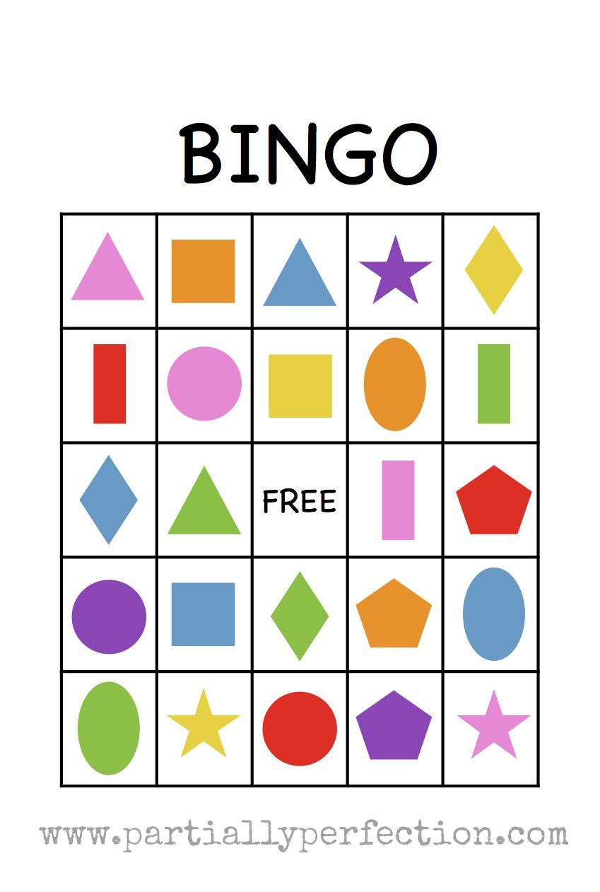 Shape Bingo Card Free Printable I M Going To Use This Teach Spanish Names Of Colors And Shapes