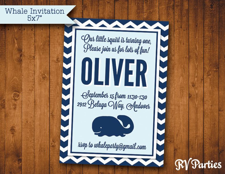 Nautical Whale Birthday Or Baby Shower Invitation JPEG - Nautical birthday invitation ideas