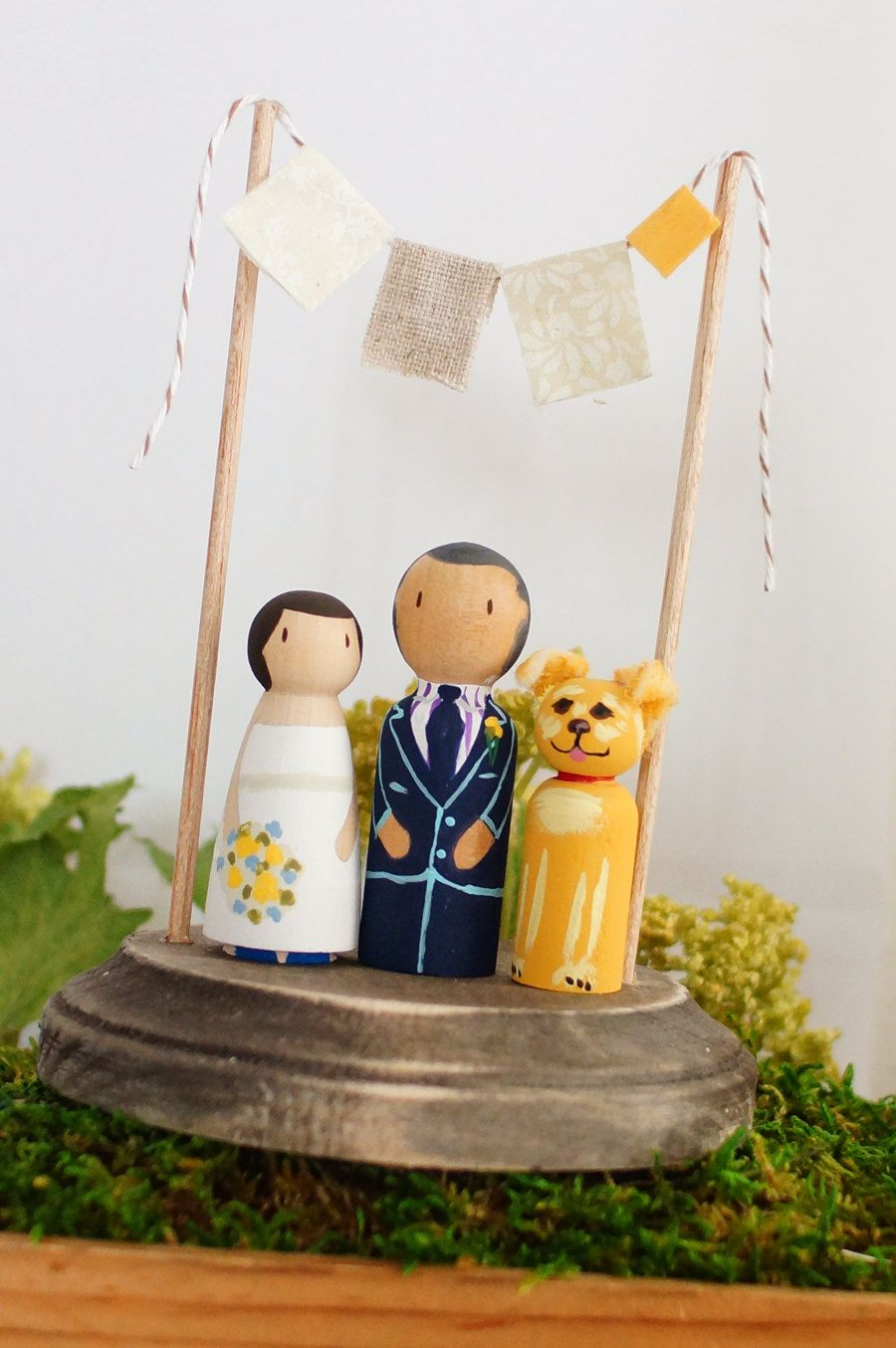 pet and couple custom rustic handcrafted wedding cake topper