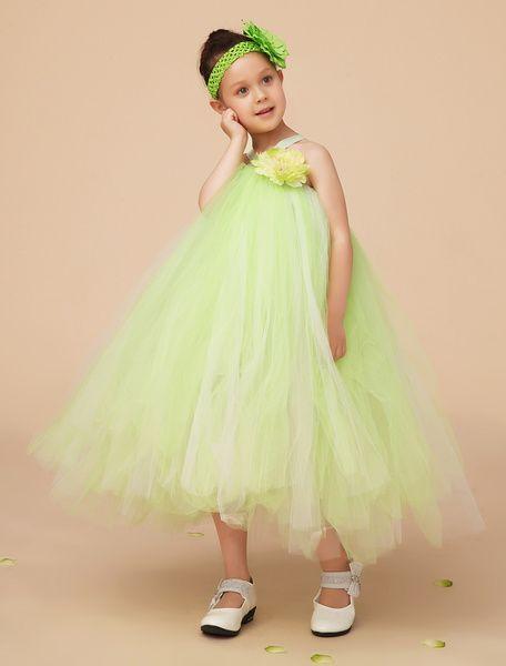 bc3879490 A-line Ankle-Length Sage Tulle Girls Pageant Dresses Vestidos Lujosos Para  Niñas