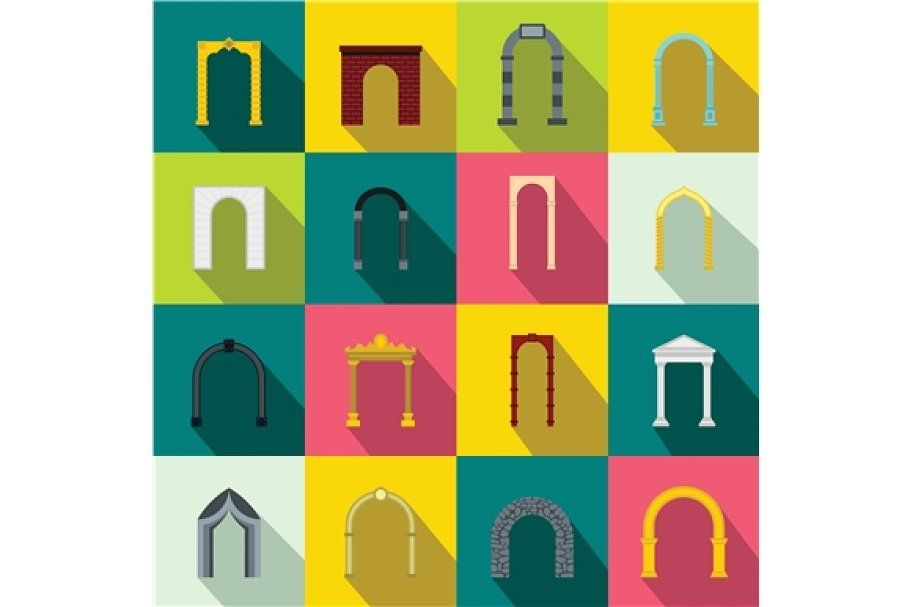 Arch Set Icons Flat Style In 2020 Icon Set Objects Design Graphic Design