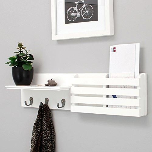 Kiera Grace Sydney Wall Shelf And Mail Holder With 3 Hooks 24 Inch By 6 Inch White Mail Holder Wall Shelves White Wall Shelves
