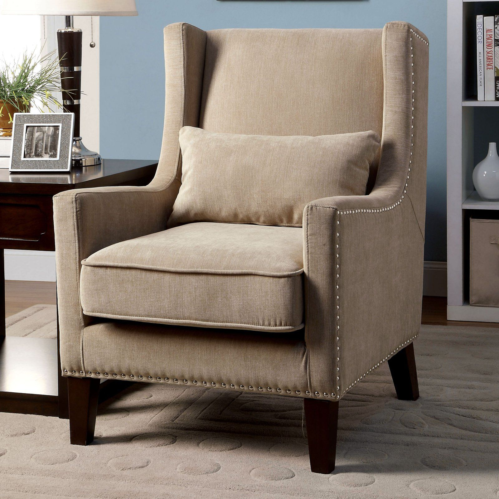 Furniture Of America Striped Stellas Wingback Accent Chair: Furniture Of America Keller Wingback Chair Ivory