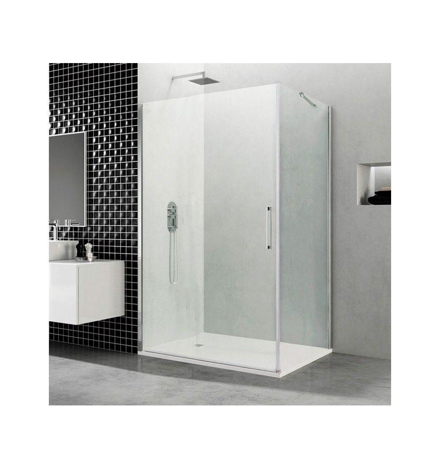 Mampara de ducha open puerta de cristal abatible con lateral fijo mampara puertas abatibles - Puertas abatibles cristal ...