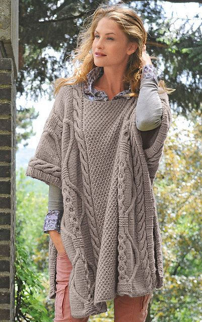 Instant Download Pdf Vintage Knitting Pattern Cable Poncho Cape Wrap