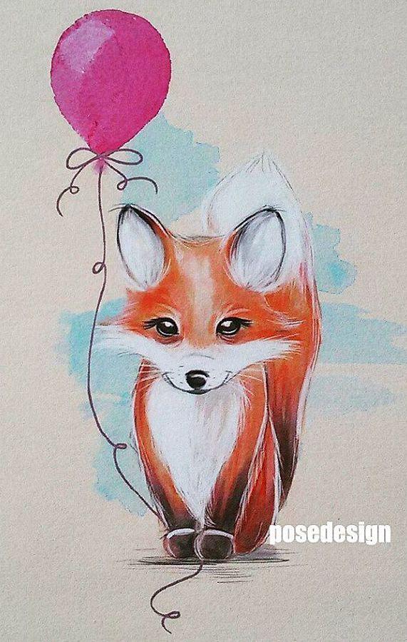 Epingle Par Valeriya Sur Fox Dessins Mignons Dessin Renard Dessins Calavera
