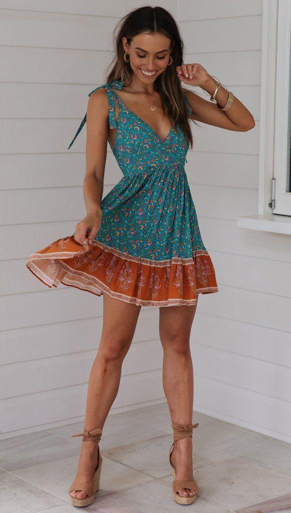 Turquoise Floral Shoulder-Tie Backless Dress