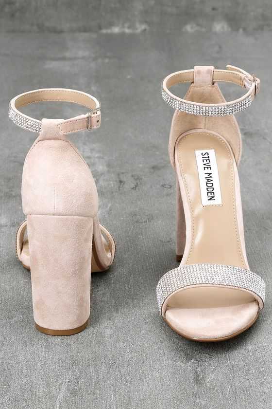 737faa3bbfd Carrson-R Rhinestone Nude Suede Leather Ankle Strap Heels 3