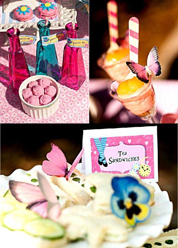 Alice in Wonderland Birthday Party Tea Desserts Table