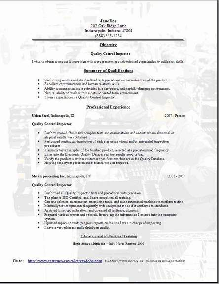 Electronic Assembly Resume Quality Control Resume3 misc Sample