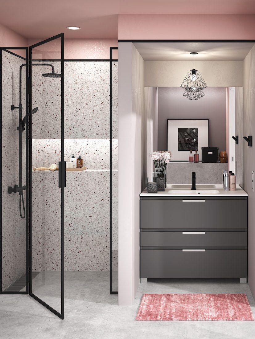 Le rose mis en valeur par le noir le gris taupe et le - Couleur tendance pour salle de bain ...