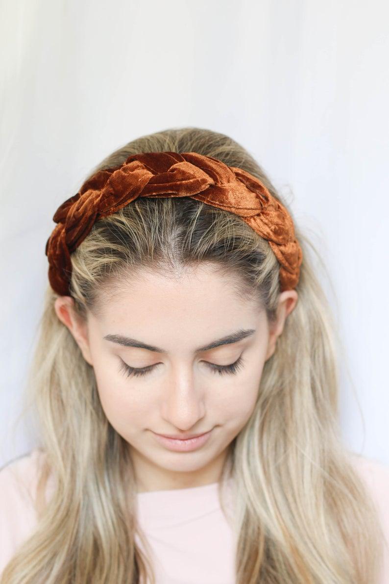 Burnt Orange Velvet Braid Hairband Padded Velvet Headband Matador Etsy Burntorange Fallfashion Velv Braided Hairband Headband Hairstyles Braided Headband