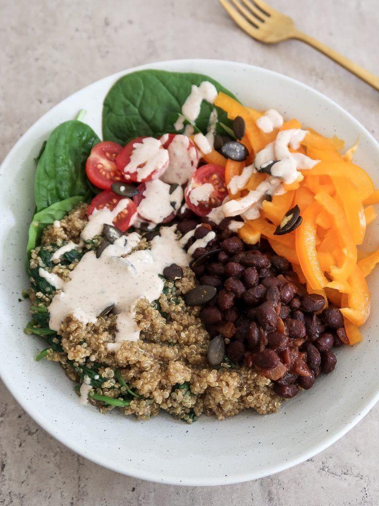 Quinoa and Black Bean Buddha Bowl (IronRich Vegetarian