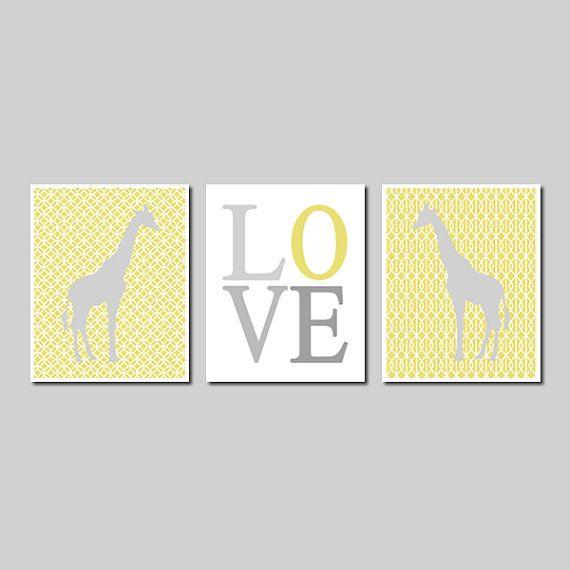Kids Modern Wall Art Yellow Grey Safari Jungle Giraffe Love Set of 3 ...