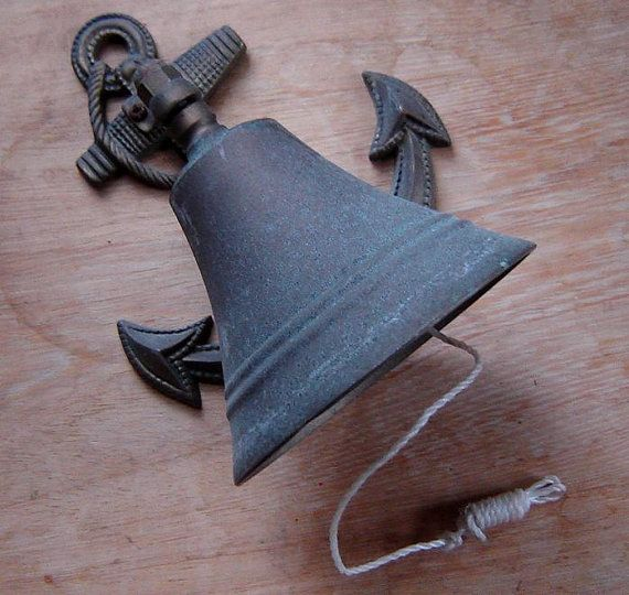 1960s brass bell with anchor motif - charity for animals