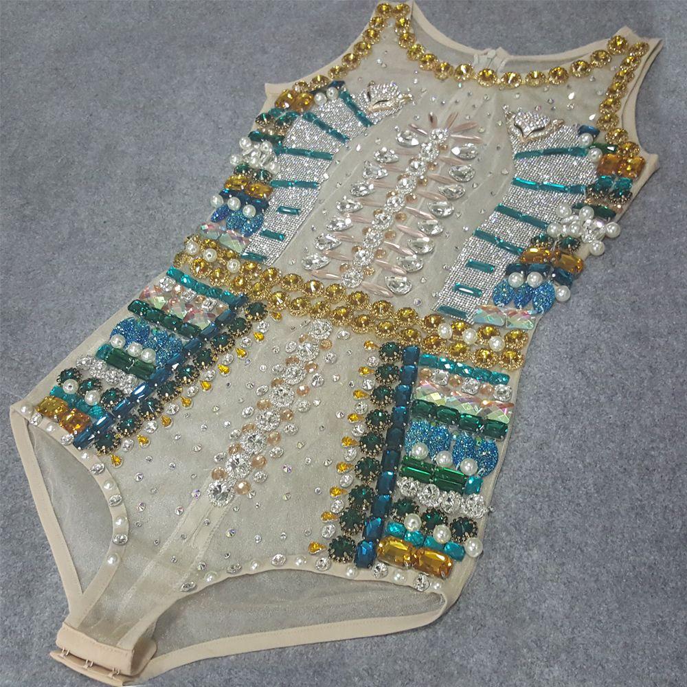 cc84865b4a Free DHL Sexy Rhinestone Bodysuit Celebrity Performance Wear ...