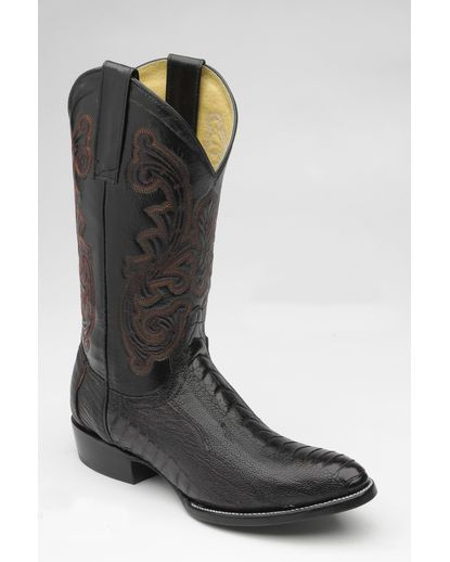 CORRAL Mens Black Ostrich Leg Embroidery Boots