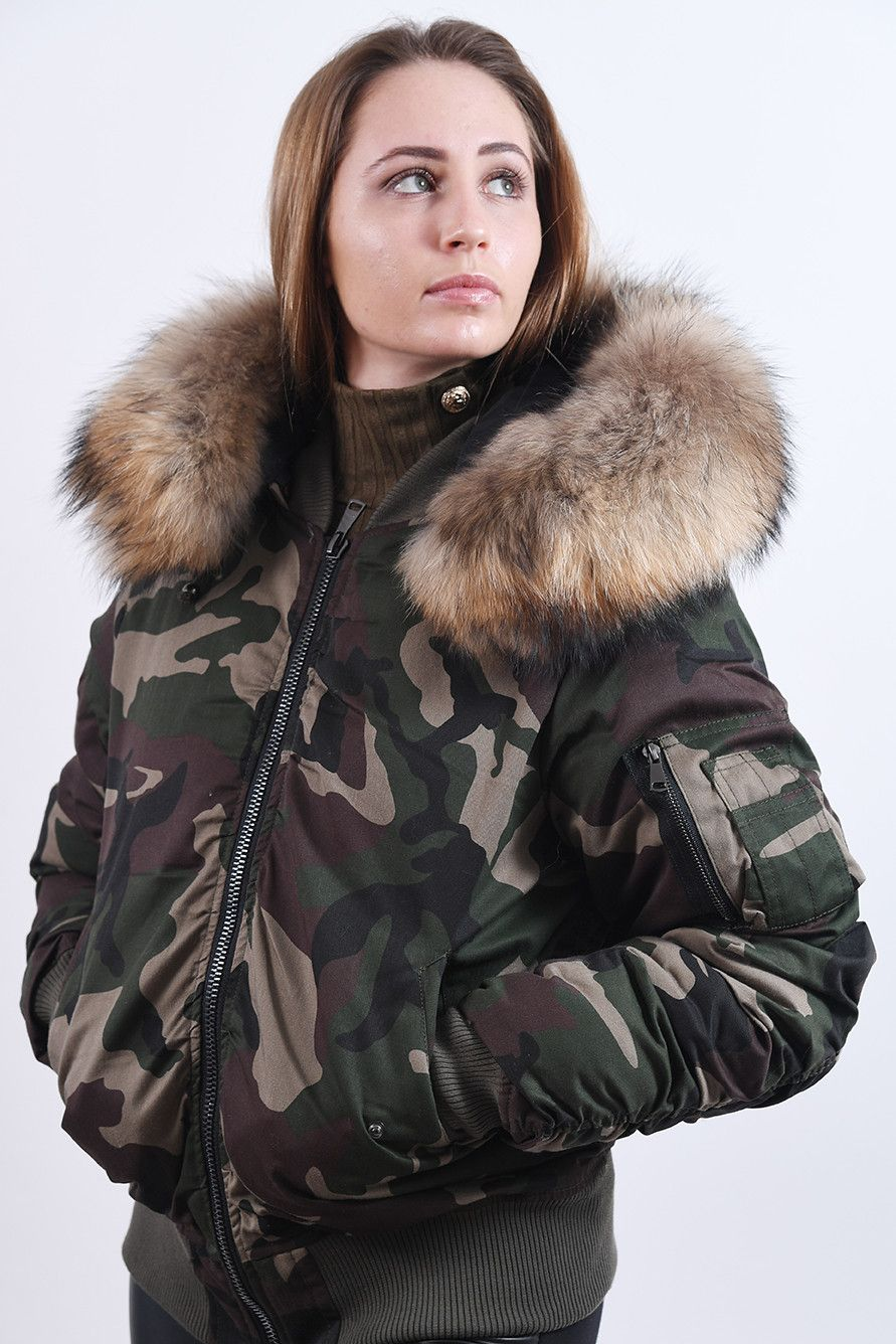 Camo Bomber Jacket Raccoon Fur Hood Camo Bomber Camo Bomber Jacket Fur Hood [ 1336 x 891 Pixel ]