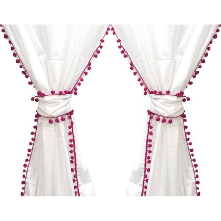 Frame your picture window or refresh the master suite with this lovely cotton curtain, showcasing a white hue and purple pompom trim.