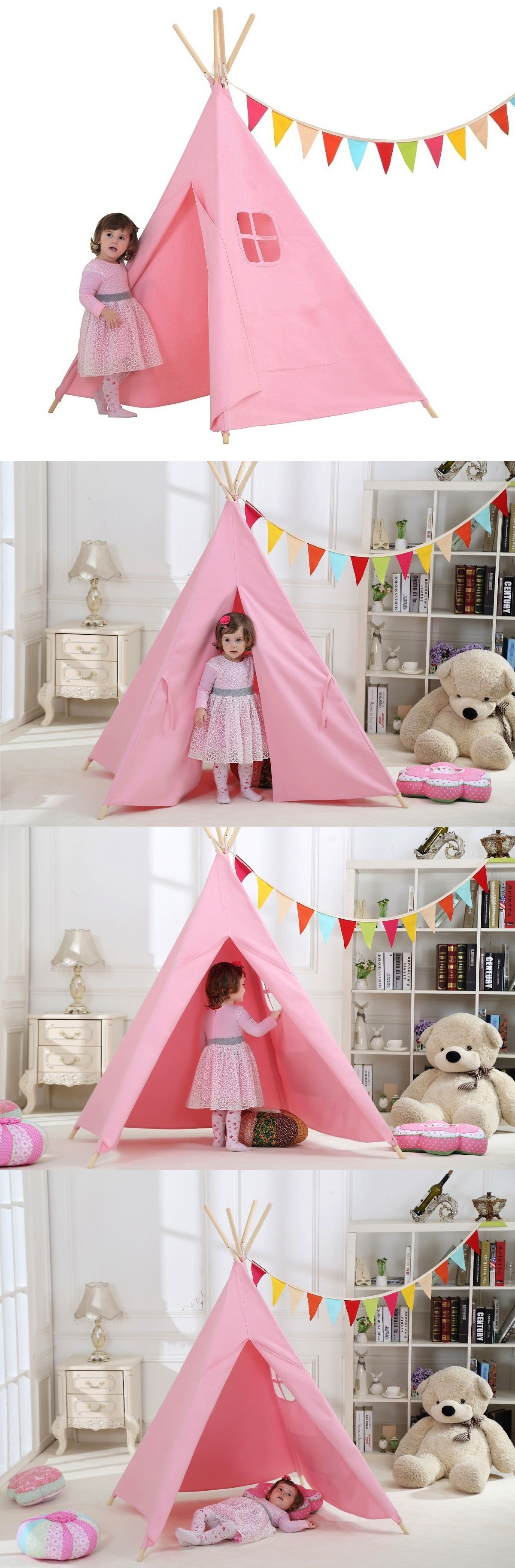d0d3d161c5b4 Play Tents 145997 100% Cotton Canvas Pink Girl Play Tent Indoor Play Teepee  Tent