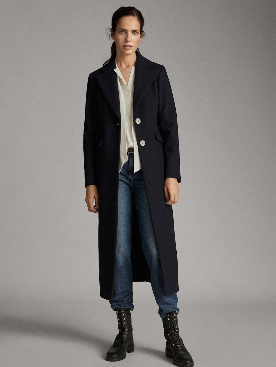 Abrigo Marino Botones Lana Mujer Massimo Dutti España Wollmantel Oberbekleidung Frauen Mantel
