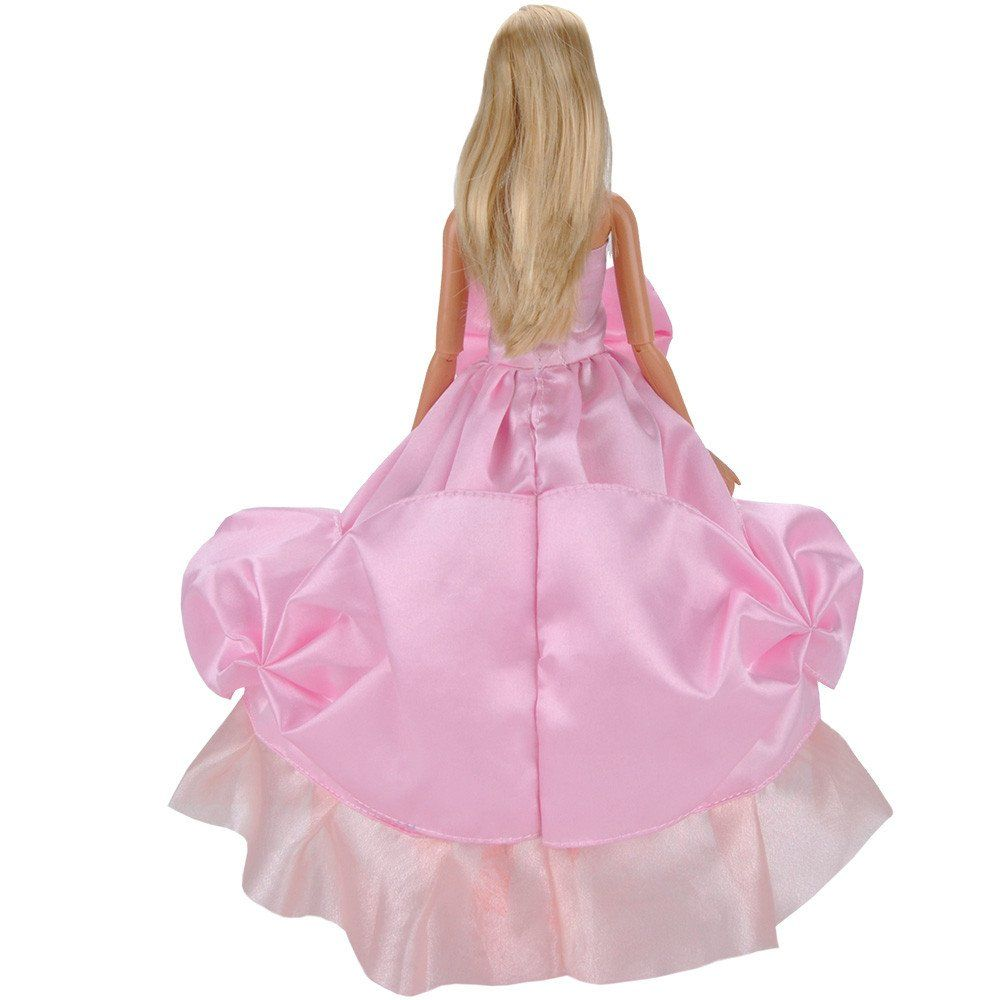 E-TING Fashion Dolls Clothes Prom Dresses Pink Wedding Party Gown ...