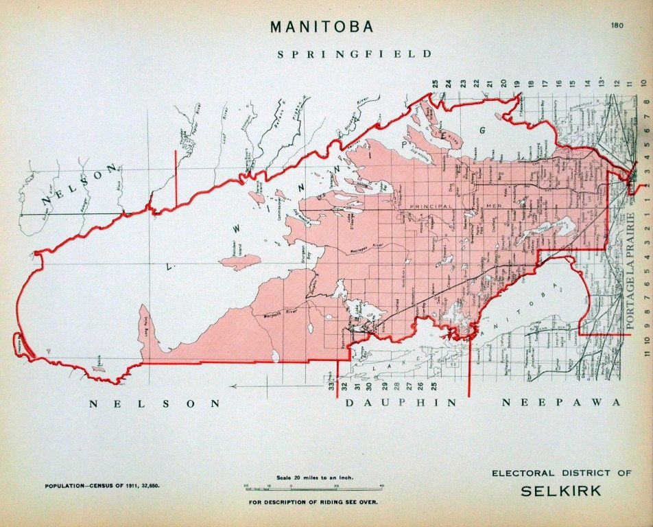 1915 Antique Map Of The Electoral District Of Selkirk Manitoba