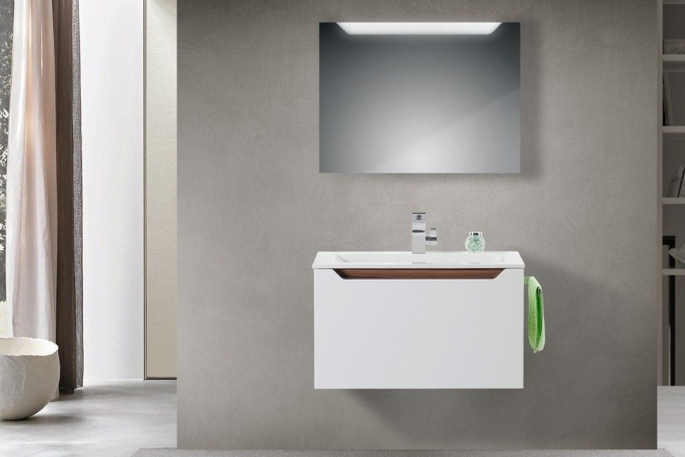 Design Badmöbel Set Waschtisch Griffleiste Nussbaum Tiepolo Jetzt - badmöbel kleines badezimmer