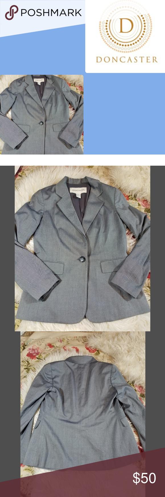 Doncaster Grey Blazer Sz 6 Gorgeous Doncaster Grey Double Collar Blazer Sz 6 Euc Preowned But Excellent Condi Grey Blazer Long Sleeve Tshirt Men Doncaster