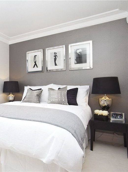contemporary chic bedroom. Paint color  Amherst Grey   Benjamin Moore  Love the gray walls