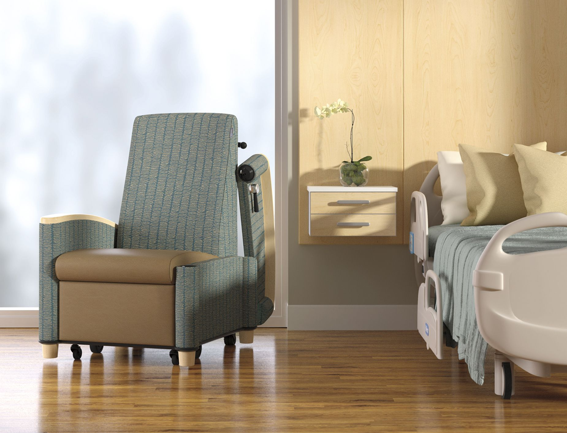 Cove recliner with transfer arm by patient bed