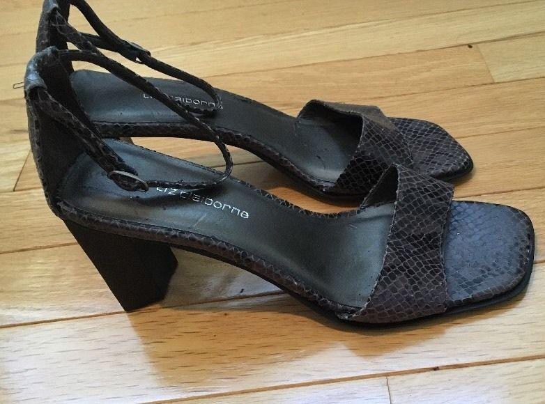 b2b207cb3dd Liz Claiborne Snakeskin Open Toe 3 Inch Heels Pumps Shoes Size 7M Ankle  Strap