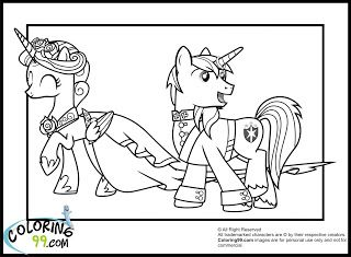 Shining Armor Coloring Pages Wedding My Little Pony Princess Cadence