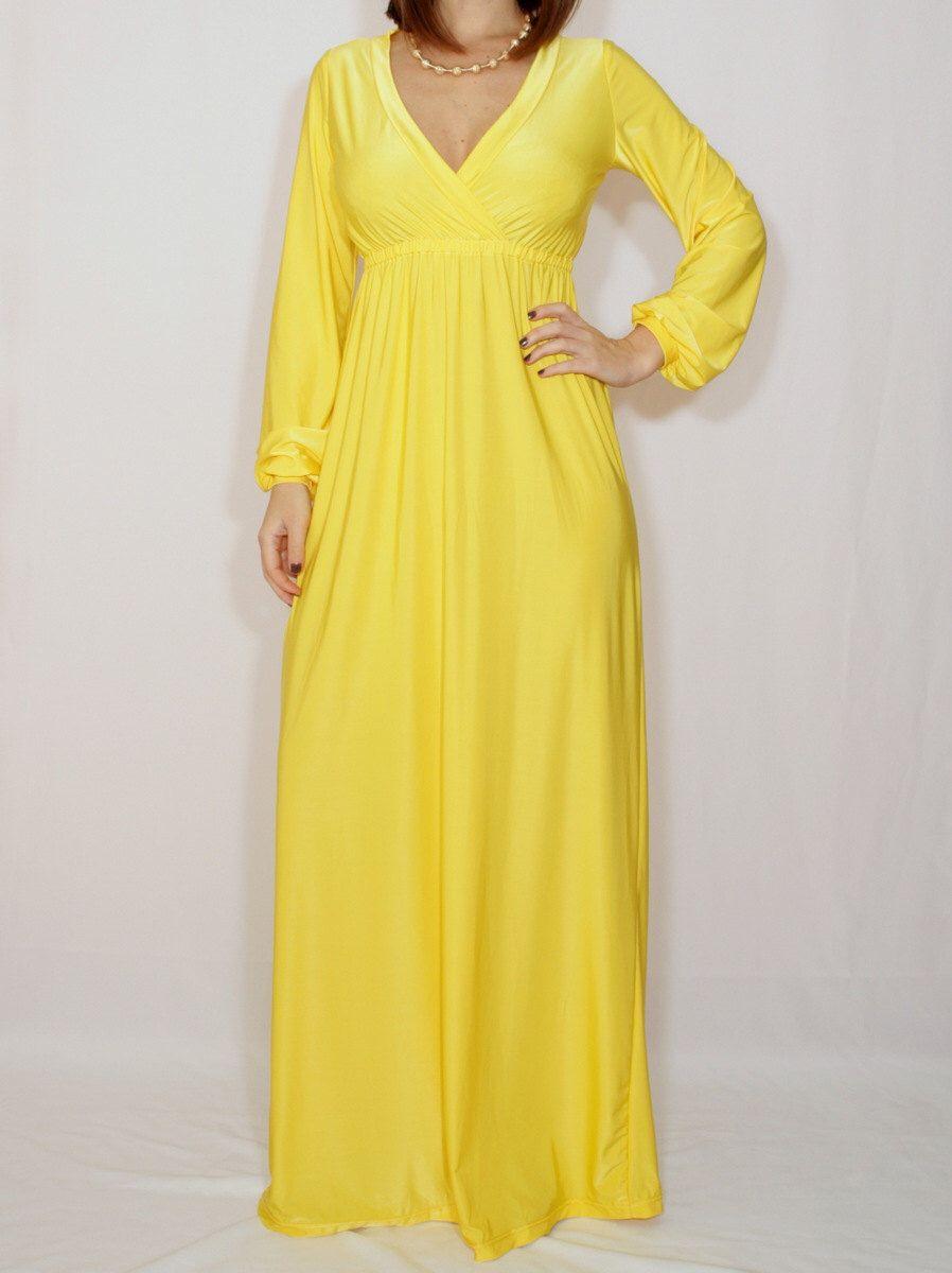 Yellow maxi dress long sleeve dress empire waist dress women by