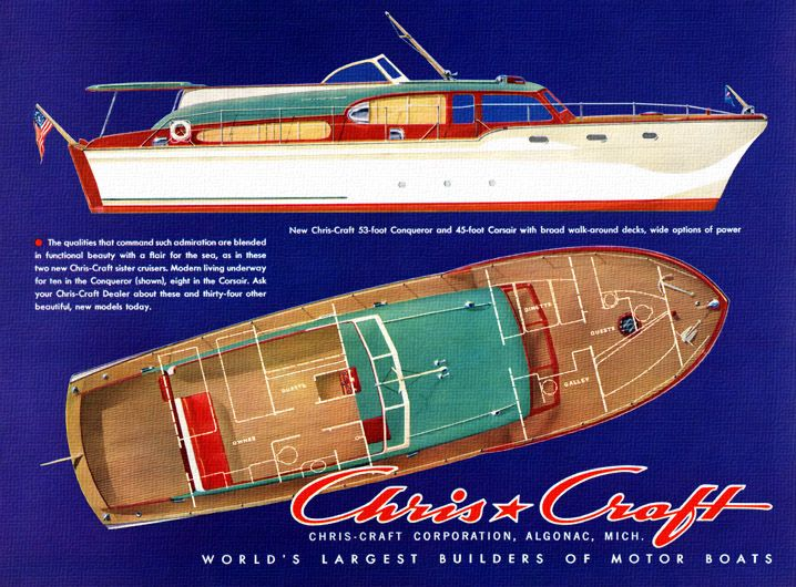 Classic Boats Vintage Ads 1953 Chris Craft Conqueror And