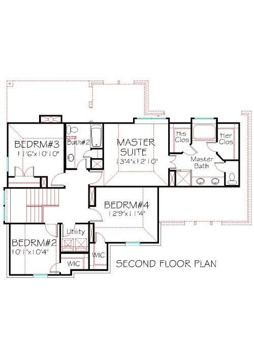 Second Floor Plan House Plan 2093 201 Traditional Stone Brick