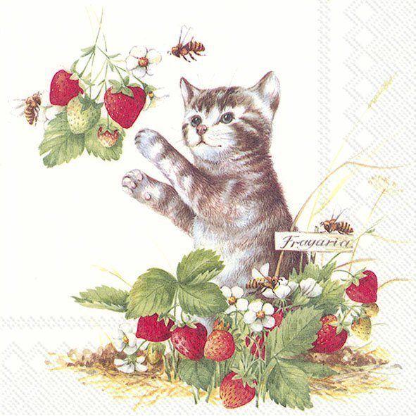Serviette 'Katze im Erdbeerstrauch'