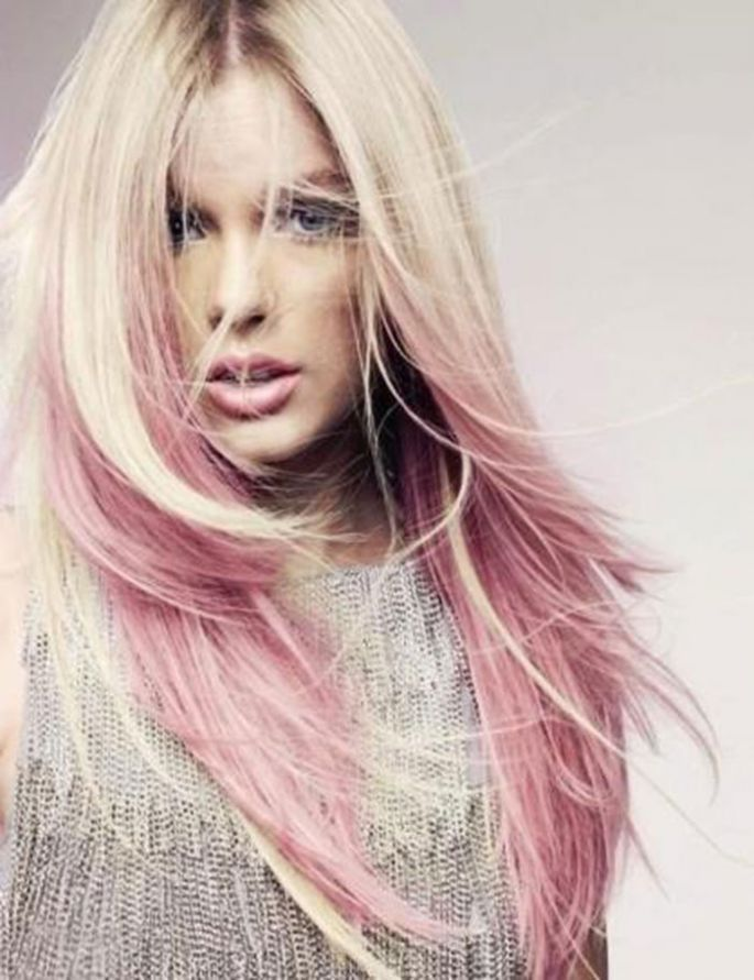 Platinum Blonde Hair With Soft Pink Tips To Give An Edgy And Chic