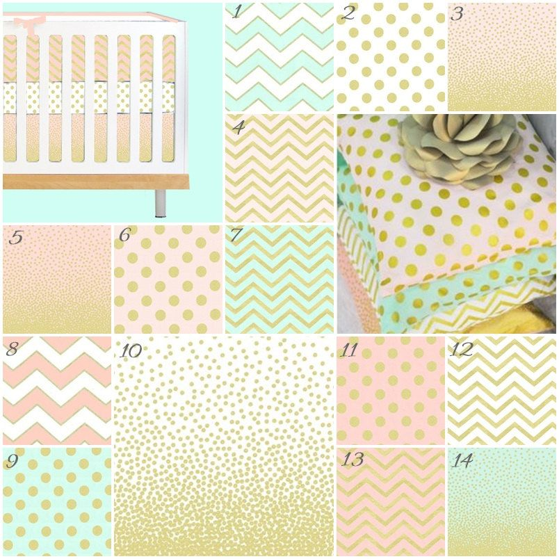 Pink Mint And Gold Nursery: Metallic Gold Crib Bedding, Pink Gold Nursery, Sparkles