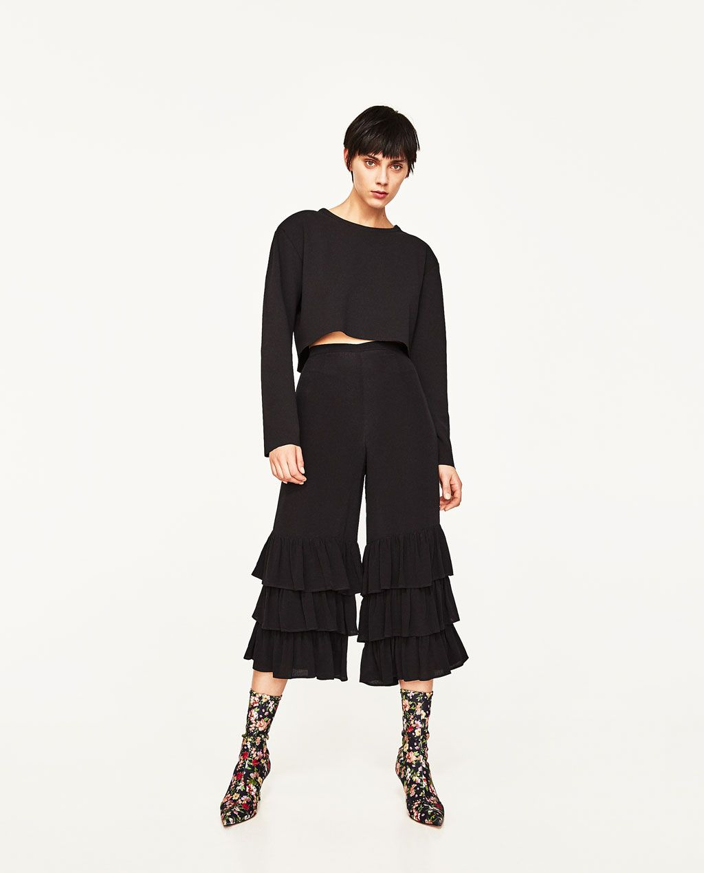 TROUSERS WITH FRILLS-Frilled-TROUSERS-WOMAN   ZARA United States ... b9fd3955f3b