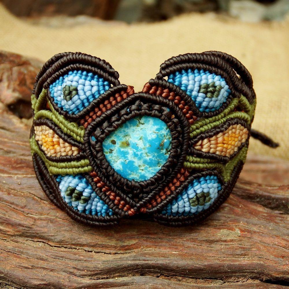 Macrame Shamballa Bracelet Wristband Tumble Turquoise Stone Waxed Cord Handmade #Handmade