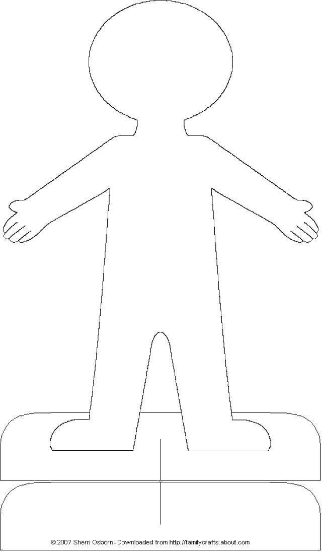 Раскраска Контур человечка из бумаги. Скачать контур ...