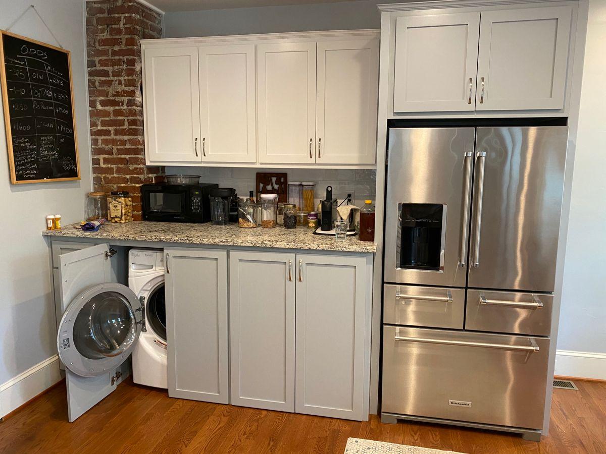 Washer/dryer in kitchen   Kitchen remodel small, Condo kitchen ...